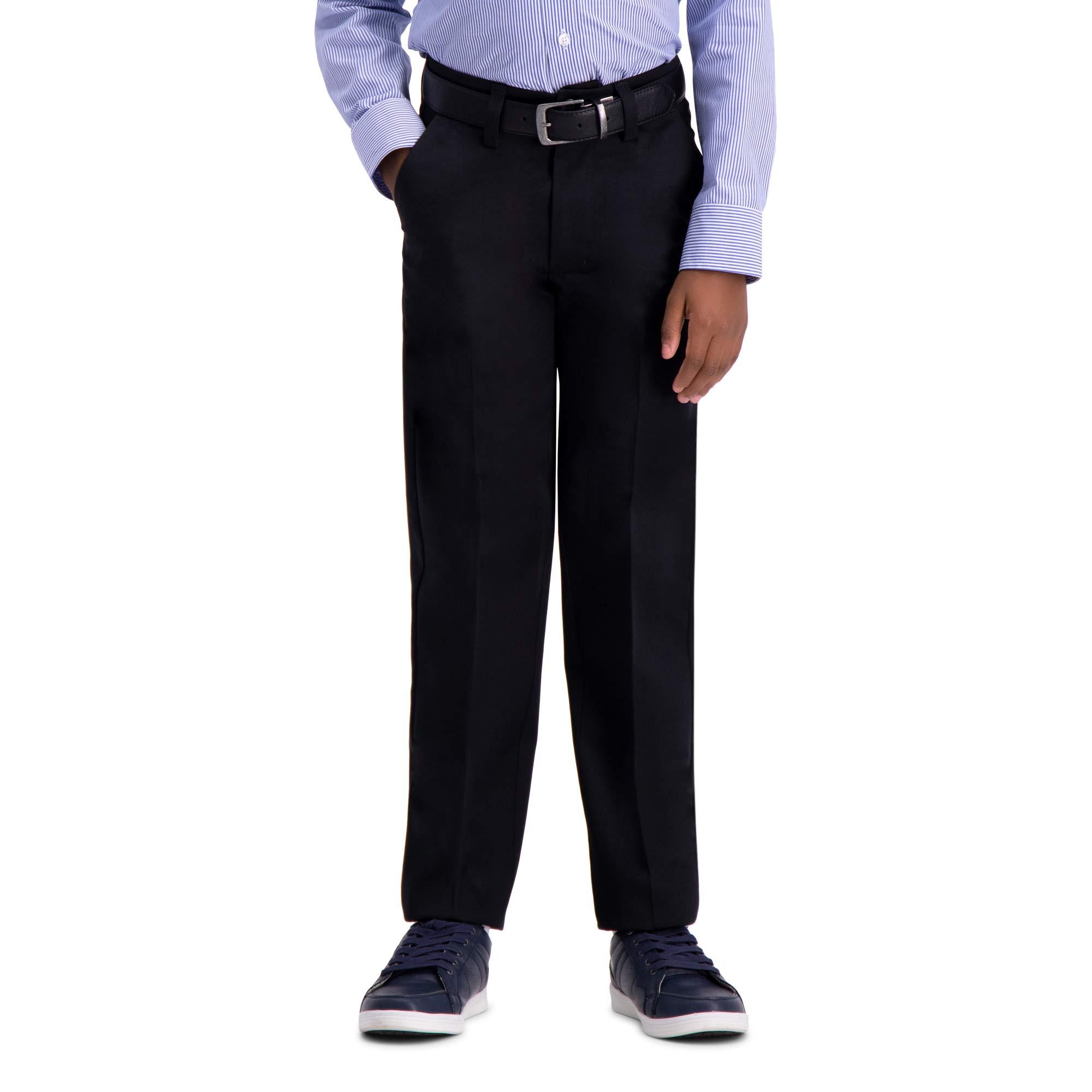 Haggar Big Boy's Youth Slim 8-20 Premium No Iron Khaki Pant, Black, 8 SLM by Haggar (Image #1)