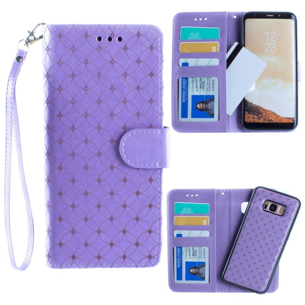 Galaxy S8 Plus Wallet Case, Slim PU Leather Laser Cut Design with Matching Detachable Flip Cover with Credit Card Holder Wristlet for Women [Diamond - Lavender]