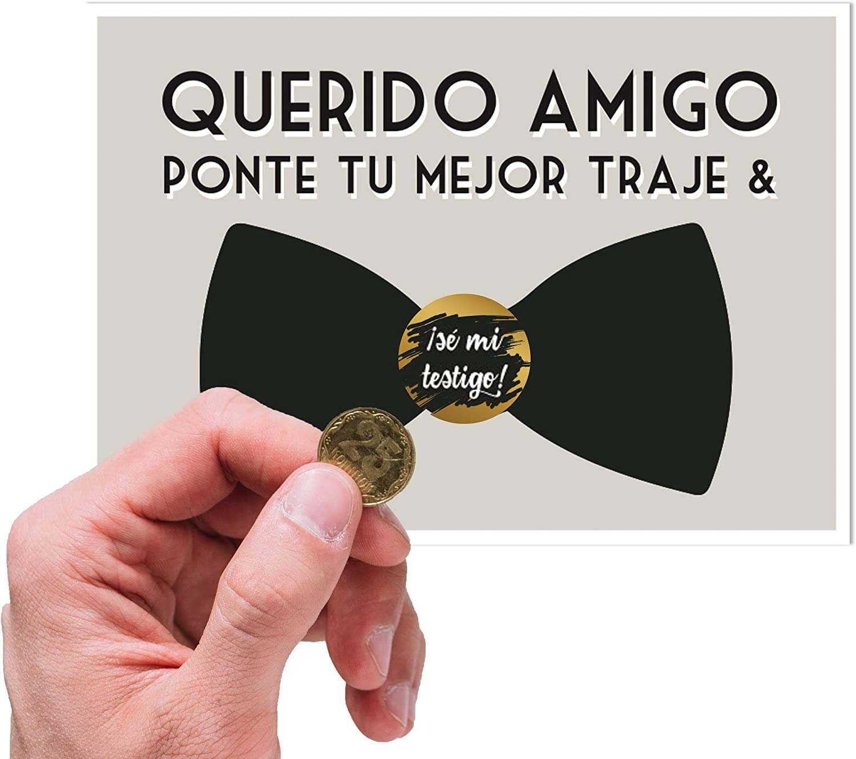 Tarjeta testigo boda hombre   Tarjeta rasca testigos novio amigos   Anuncio Boda
