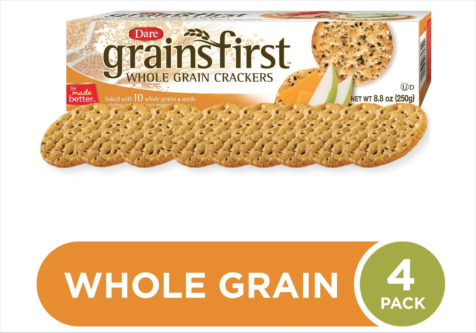 Dare Grainsfirst Whole Grain Crackers, 8.4 oz (Pack of 4) - 100% Natural - Baked with 10 Whole Grains and Seeds - Robust Multigrain Taste - 6g of Whole Grains Per Serving - Delicious Plain or Topped