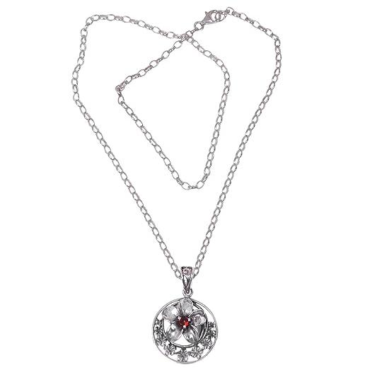 Novica Sterling silver pendant necklace, Moonlight Plumeria