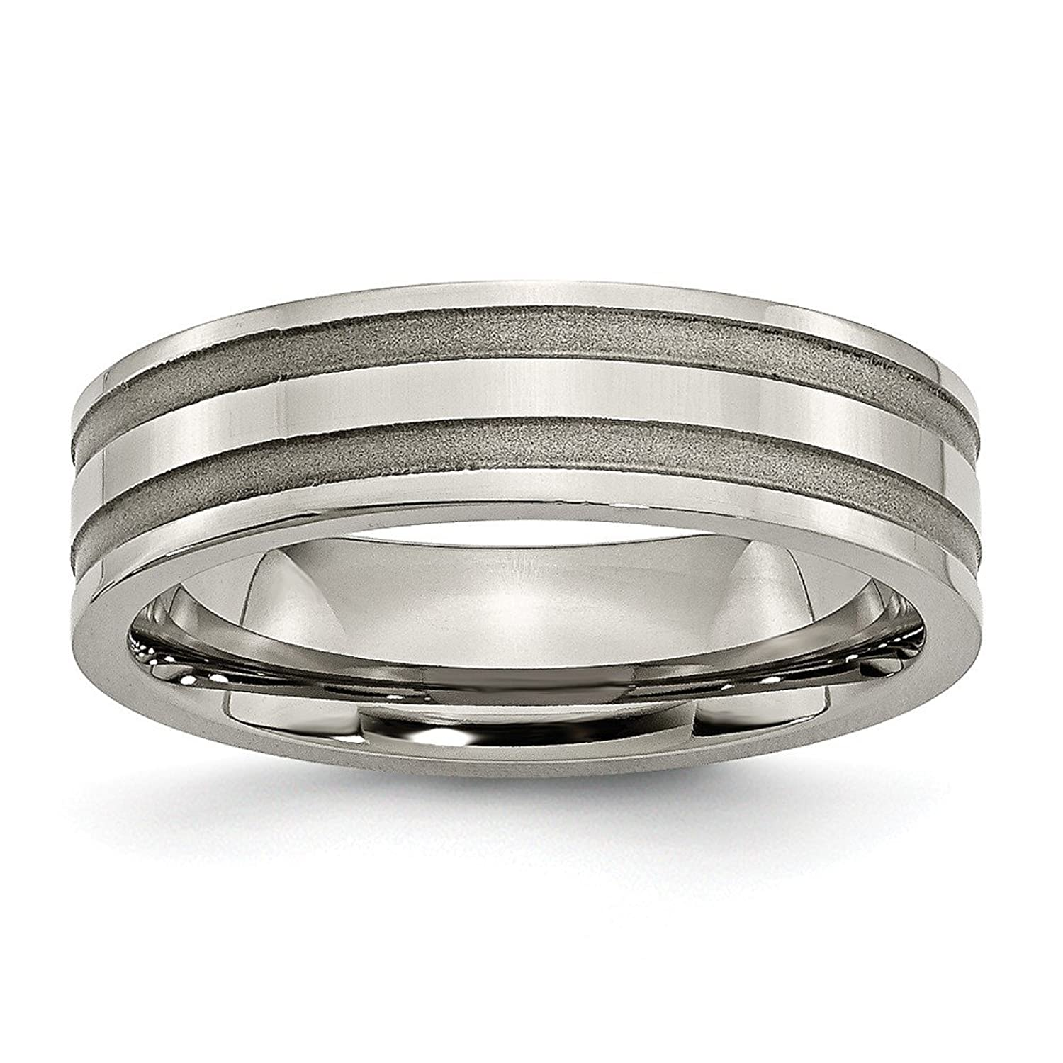 Titanium Grooved 6mm Brushed and Polished Band, Size 13