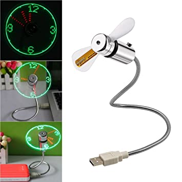 Flexible USB Time LED  Fan Clock With LED Light USB Clock Fan Time Display