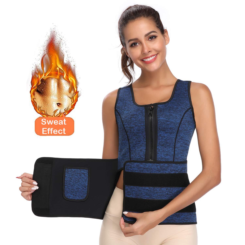 Waist Trainer Corset for Weight Loss Women Thermal Underwear Tops Trimmer Sweat Sauna Vest (Blue, XL)