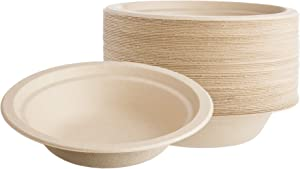 HARVEST PACK 12 oz Compostable Disposable Paper Bowls, Made from Eco-Friendly Plant Fibers [50 COUNT]