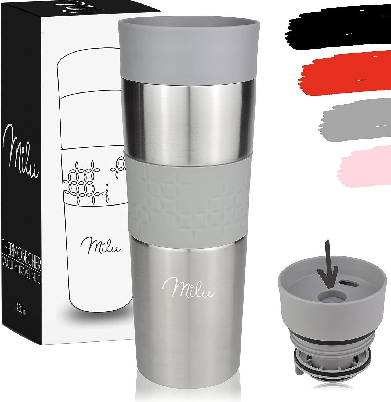 Milu Termo Taza 450ml - Vaso Termico de Viaje - Café para Llevar - Taza de Viaje - Taza de acero inoxidable para beber - con aislamiento de doble pared (Gris, 450ml)