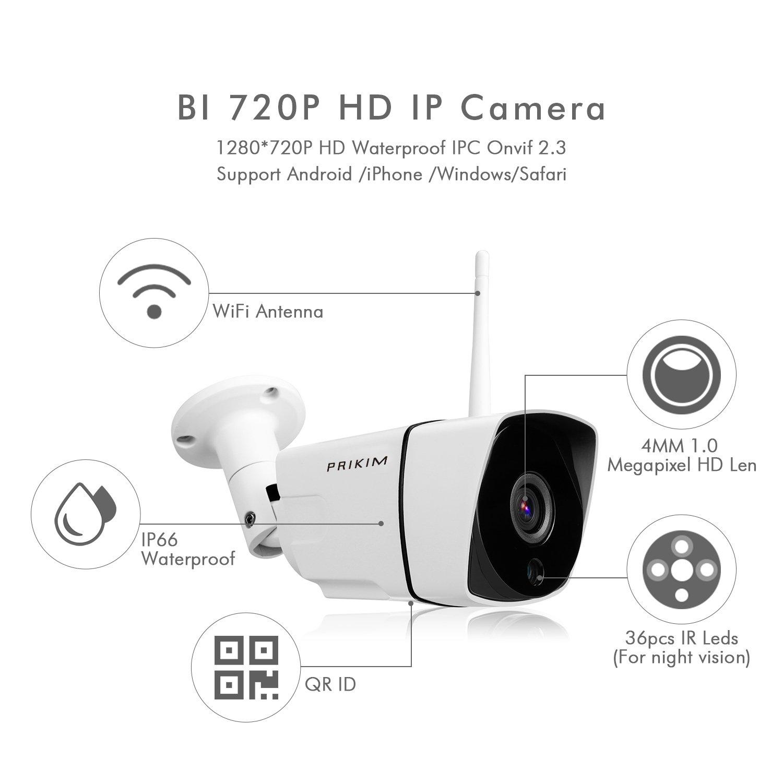 PRIKIM 720P inalámbrico WiFi Bullet cámara IP, visión Nocturna IR, Impermeable, Alarma de detección de Movimiento para el Sistema de vigilancia en casa, ...