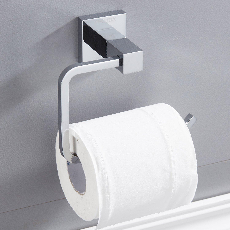 Toilet Paper Holder Solid Bar FAUMIX Square Bath Tissue Paper Holder,Chrome
