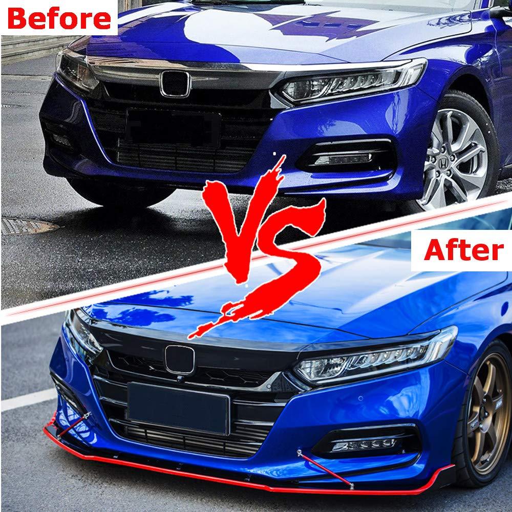 3pcs Front Lip Splitter Bumper for Honda Accord Sedan 2018 2019 Trim Protection Splitter Spoiler Black