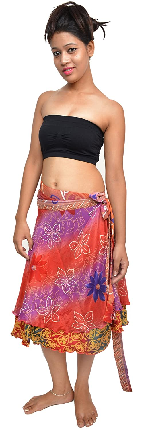 Wevez Women's Printed Wrap Around Sari Skirts Pack of 5, Small, Assorted ST-151024