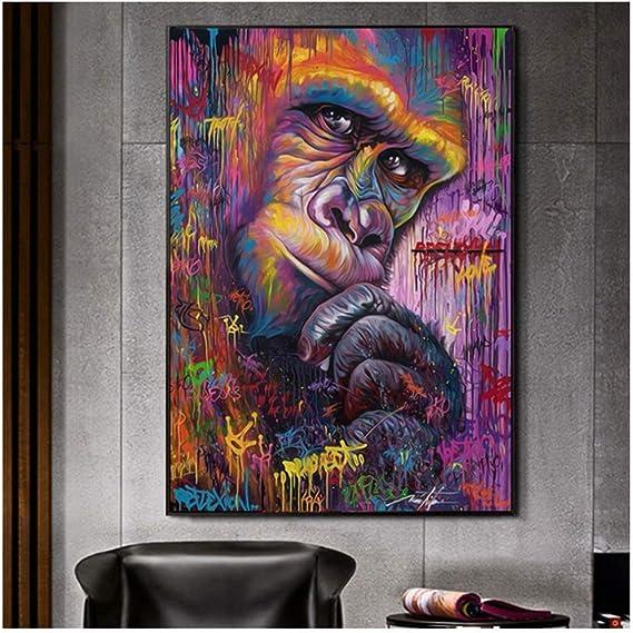 Monkey Geometric Wall Art Zimmer Deko schwarz Wandbilder Wanddekoration Plexiglas Aesthetic deko h/ängend Tier Dschungel Animal AFFE Geometrische Kunst Acryl 85x70 MyMaxxi