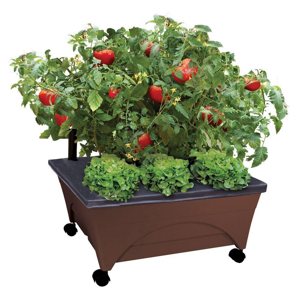 City Pickers 24.5 in. x 20.5 in. Patio Raised Garden Bed Kit with Watering System and Casters in Earth Brown