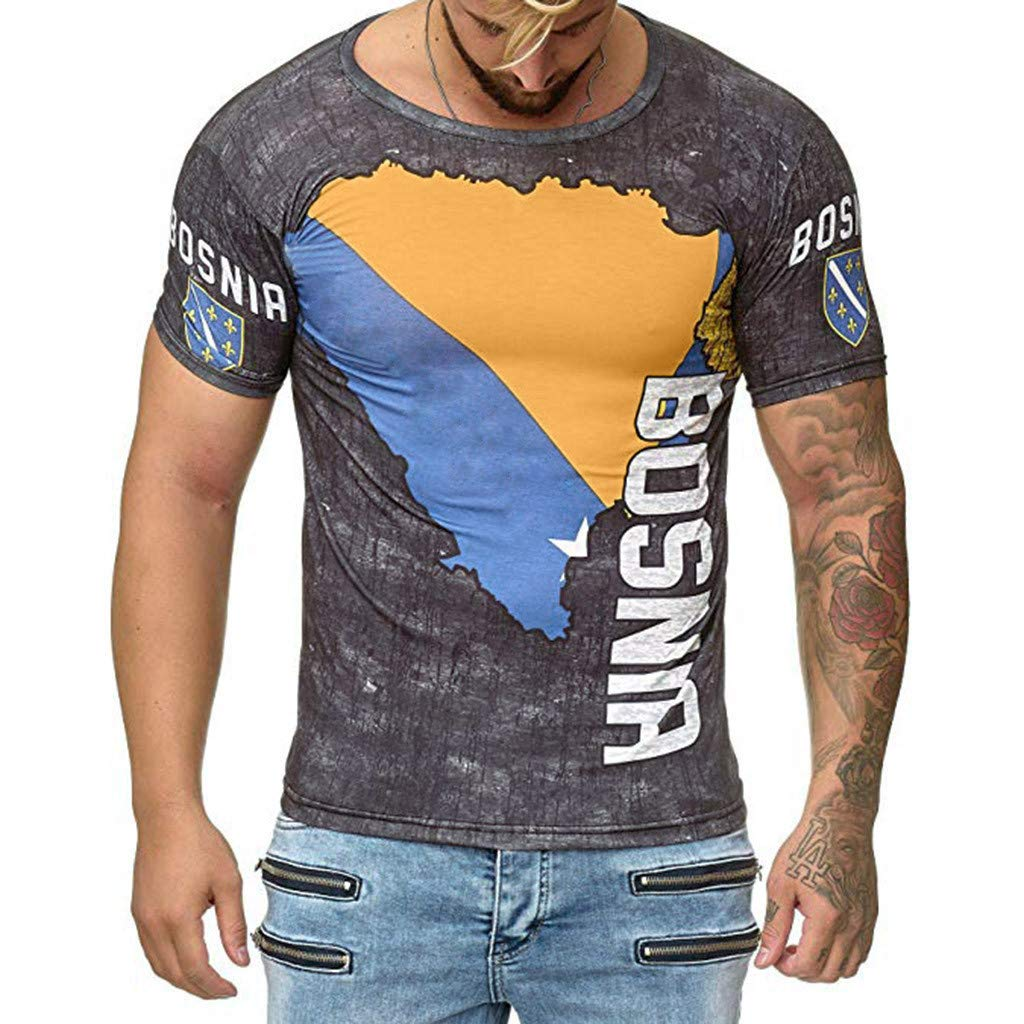 Mr.Macy Summer Round Neck Short-Sleeved 3D Printing T-Shirt Trend World Cup Printing