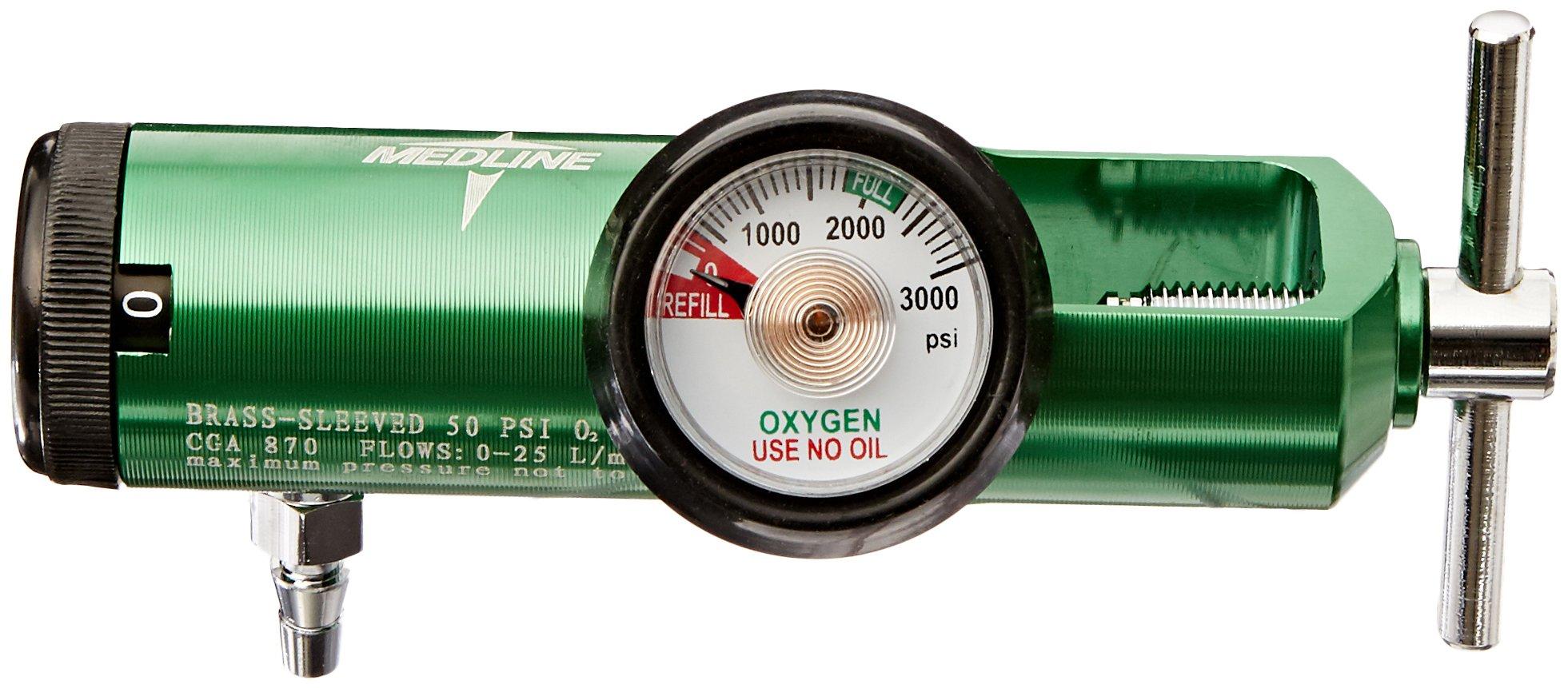 Medline HCS8725M Mini Oxygen Regulator, Latex Free, 0 - 25 Liters per Minute, 870 CGA Connection, Brass Sleeve by Medline