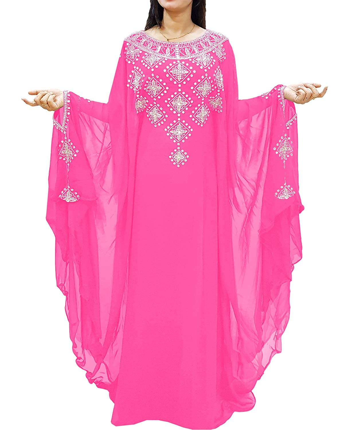 Baby Pink African Boutique Long Sleeve Plus Size Beaded Mgoldccan Kaftans African Dresses for Women