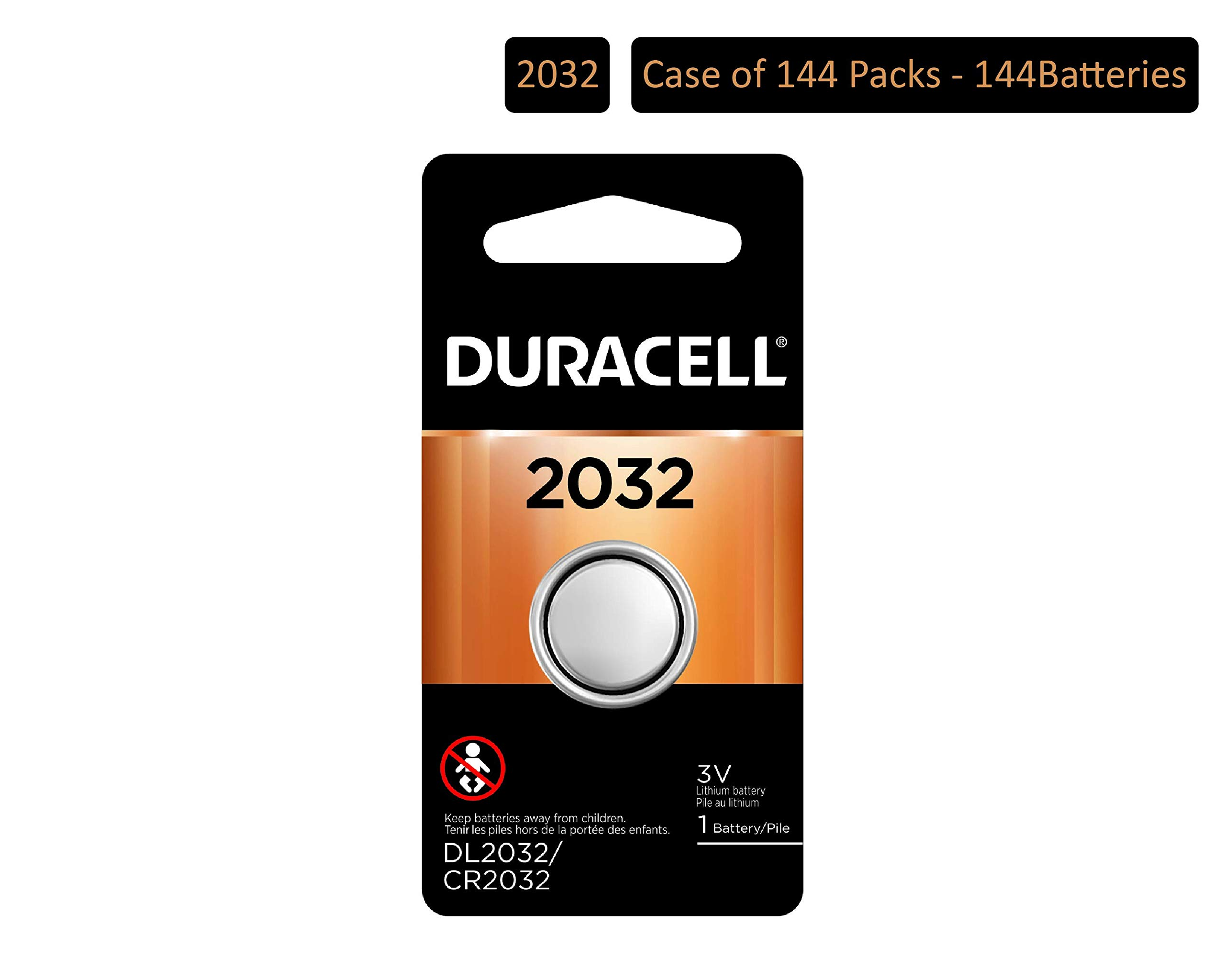Duracell - 2032 3V Lithium Coin Battery - Long Lasting Battery (Pack of 144)
