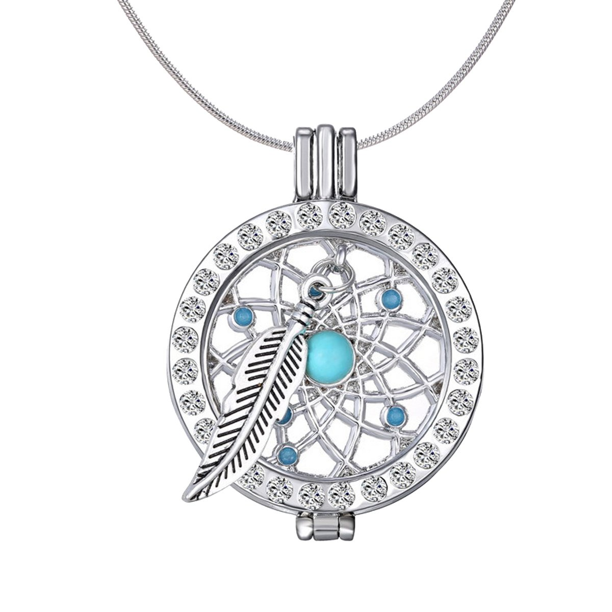 Charms Dreamcatcher Crystal Locket Turquoise Coin Pendant Essential Oil Diffuser Snake Chain Necklace