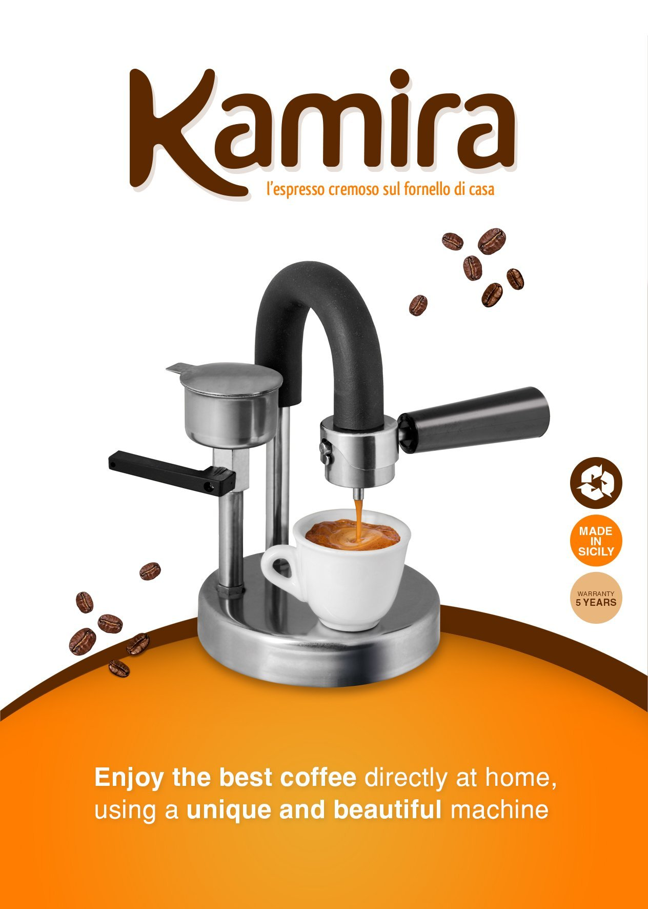 KAMIRA Moka Express 1/2 Cups Stovetop Espresso Maker. The perfect gift! Made in  Italy by KAMIRA (Image #1)