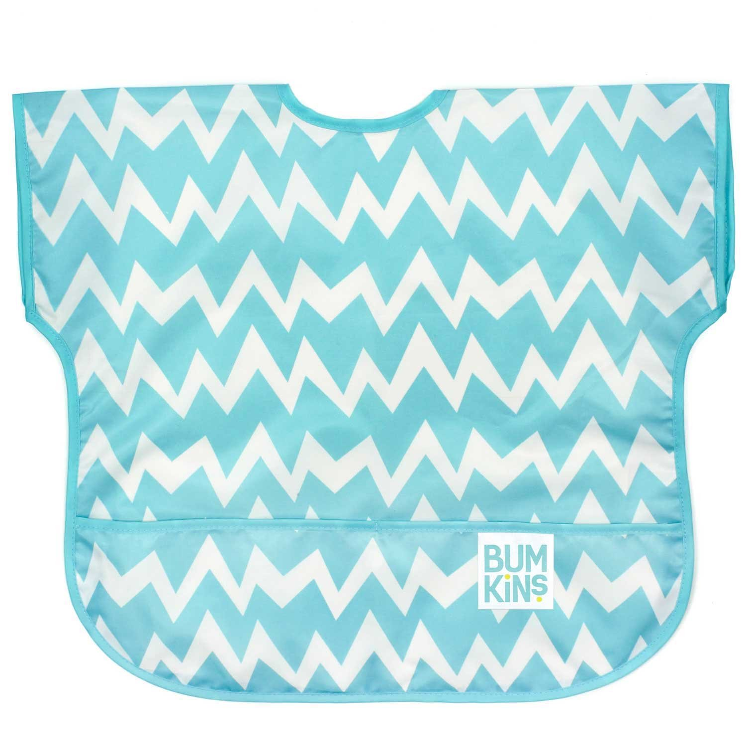 Bumkins Waterproof Junior Bib, Blue Chevron (1-3 Years) by Bumkins