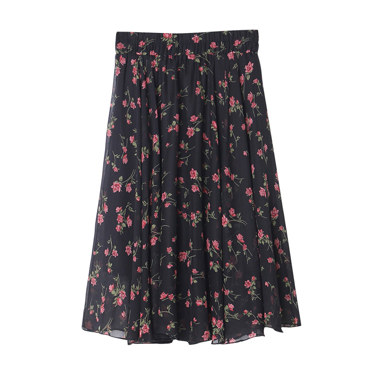 Misscat Women's Chiffon Flower Print Skirt High Waist Elastic Knee Length Dress