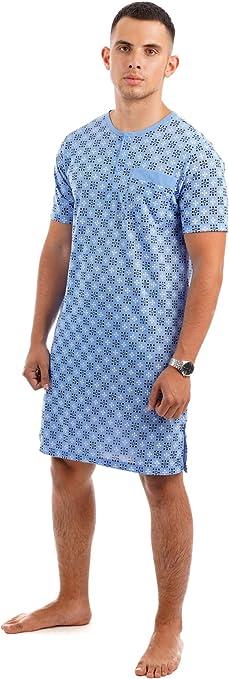 i-Smalls Mens Short Sleeve Long Length Stretch Lightweight Cotton Button Nightshirt Pyjama Set