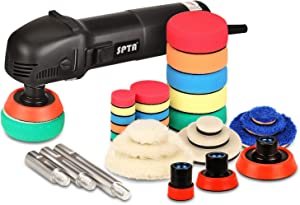 SPTA Mini Polishing Machine Rotary Polisher RO Polisher Auto Detailing Superpolish with 27Pcs Detail Polishing Pad Mix Size Kit Buffing Pad and 75mm,100mm,140mm M14 Thread Extension Shaft