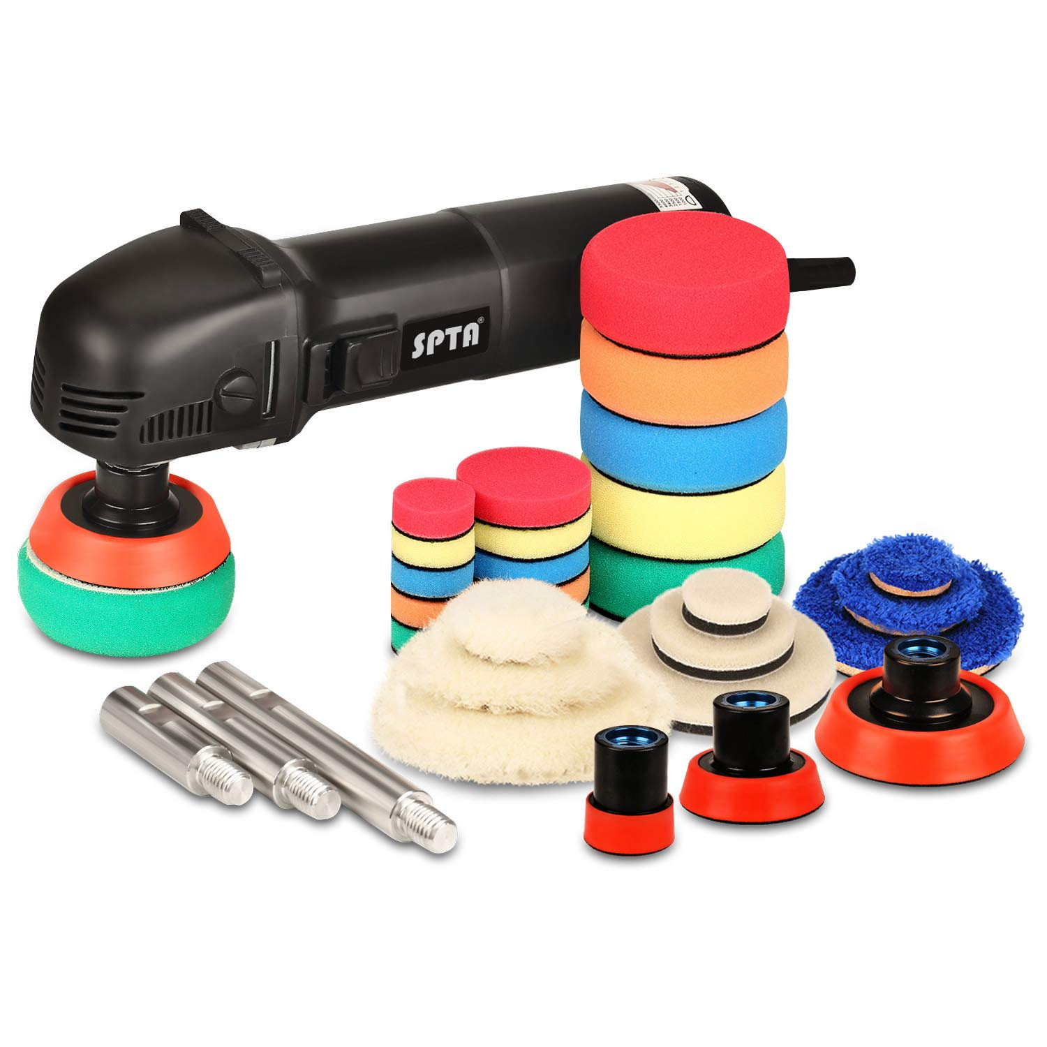 SPTA Mini Polishing Machine Rotary Polisher RO Polisher Auto Detailing Superpolish with 27Pcs Detail Polishing Pad Mix Size Kit Buffing Pad and 75mm,100mm,140mm M14 Thread Extension Shaft by SPTA