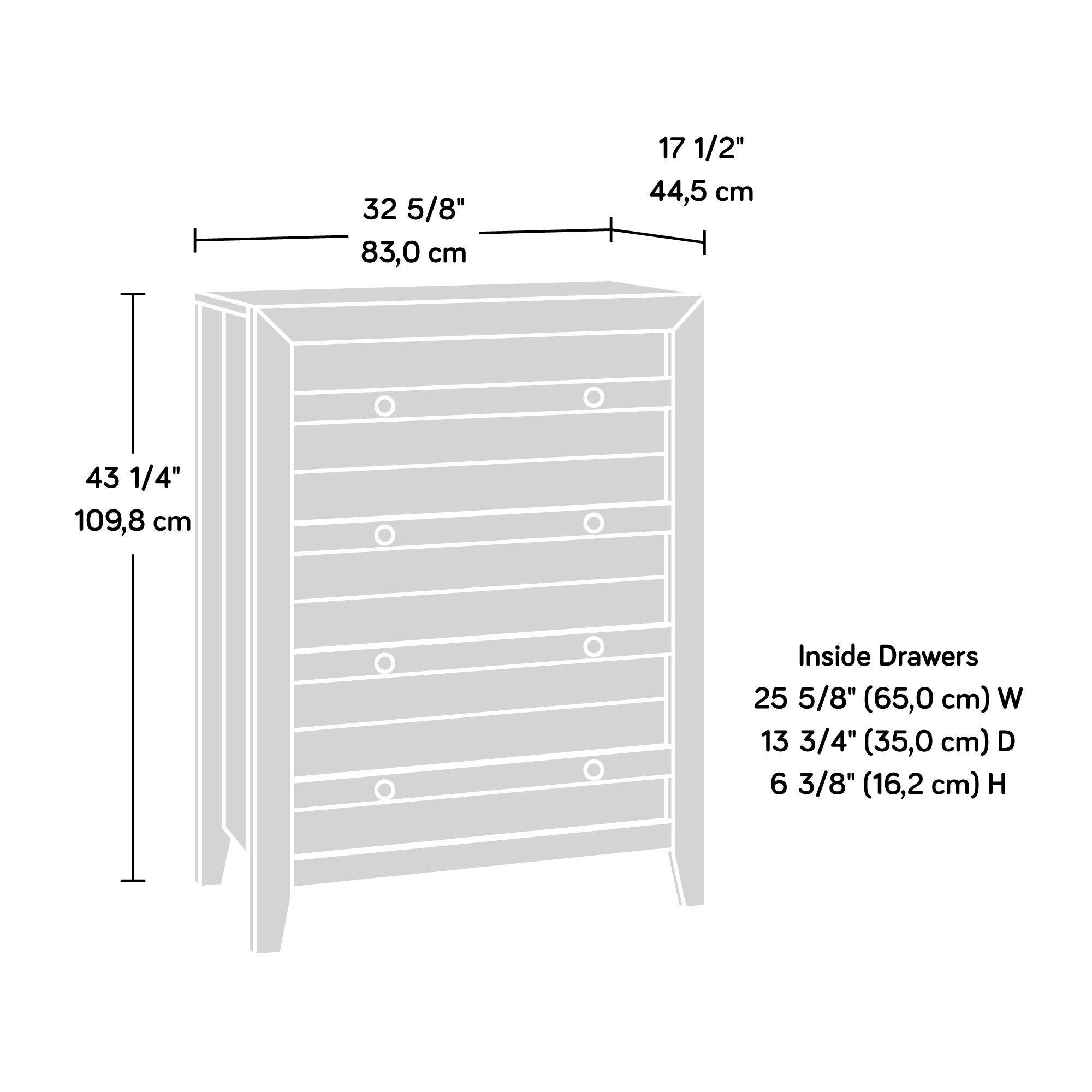 Sauder 418175 Dakota Pass 4-Drawer Chest, L: 32.68'' x W: 17.52'' x H: 43.23'', Craftsman Oak finish by Sauder (Image #5)