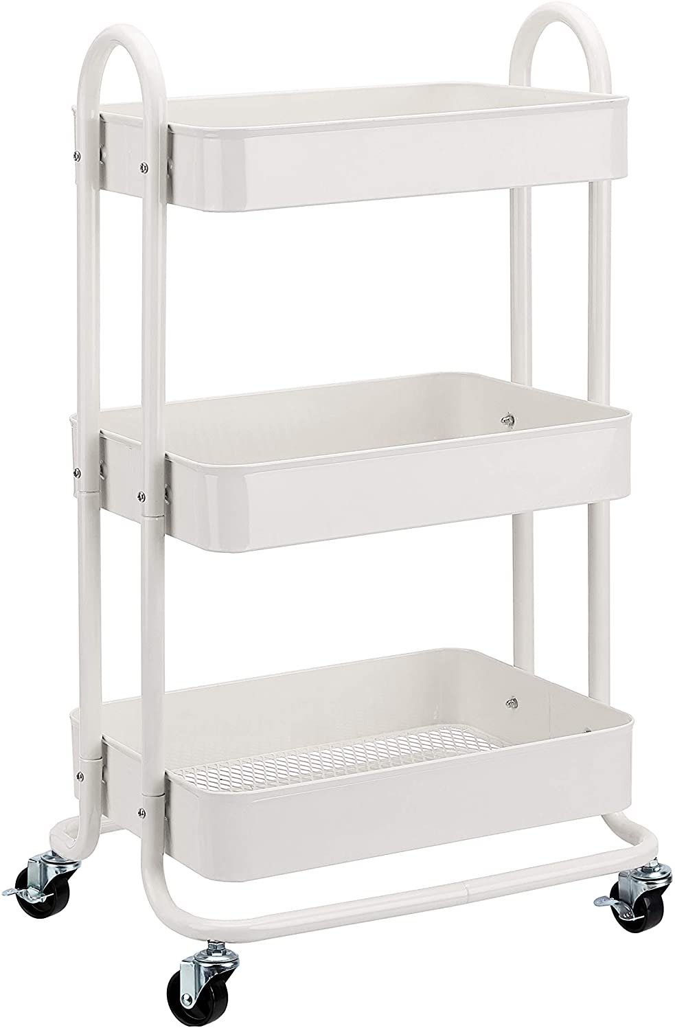 AmazonBasics 3-Tier Rolling Utility or Kitchen Cart - White
