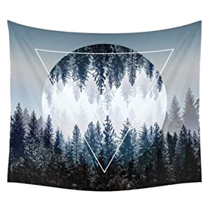 Sunset Forest Tapestry Wall Hanging, Wall Decor Tapestry with Inverted Triangle Pattern Art Nature Home Decorations for Living Room Bedroom Dorm Decor