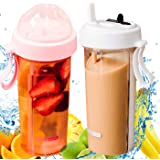 Fruit Infuser - Water Bottle 600ml, BPA-Free, with Wide Mouth & Two Straws for Dual Drink - Cold & Hot, Leak Proof, Plastic, Pink & White Colors, Sport Bicycle Bike Hiking Gym Outdoor Travel Office