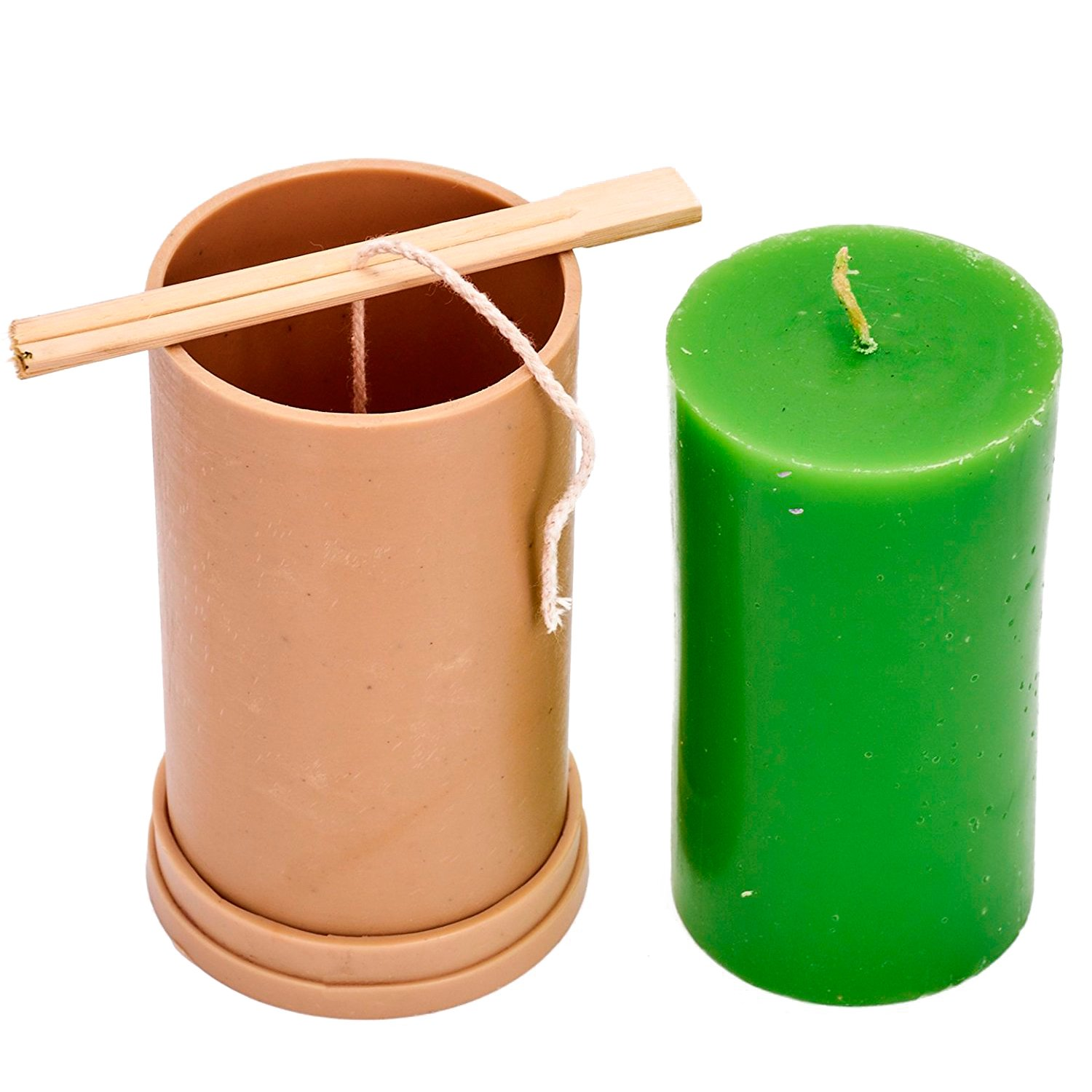 height: 5.1 in 30 ft Сylinder mold Plastic candle molds for making candles of wick included as a gift width: 2.7 in