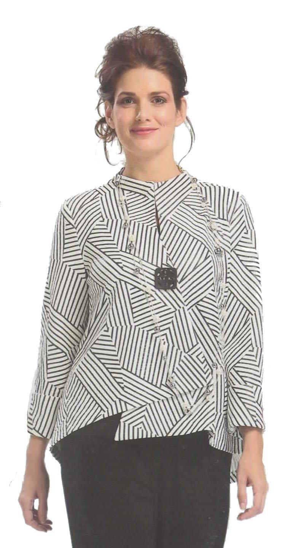 Geo-Quiz Asymmetrical Front Jacket Single Button Blazer-whitexl