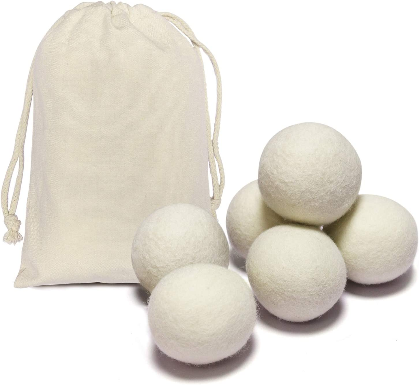 6 Pack All Natural Organic Wool Dryer Balls XL Size - Reusable Chemical Free Natural Fabric Softener, Anti Static, Reduces Clothing Wrinkles and Saves Drying Time (White)