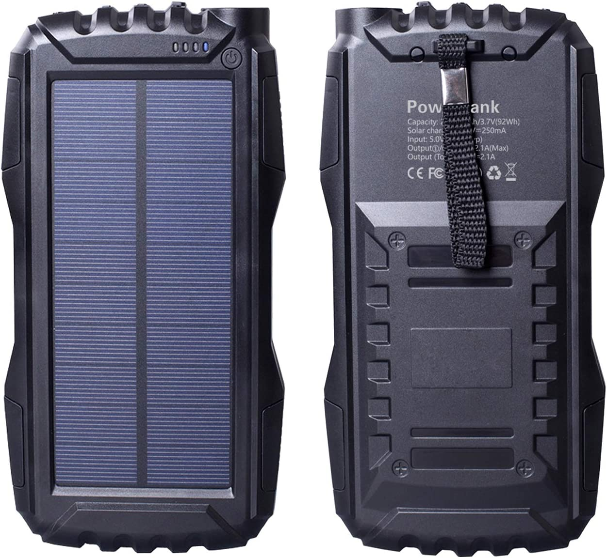 Gootu Friengood Solar Charger 25000mAh, Portable Solar Power Bank with Dual USB Port, Outdoor Solar Phone Battery Charger with LED Flashlight for iPhone, iPad, Android Cellphones and More Black