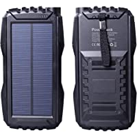 gootu Solar Charger 25000mAh, Portable Solar Power Bank with Dual USB Port, Outdoor Solar Phone Battery Charger with LED Flashlight for iPhone, iPad, Android Cellphones and More (Black)
