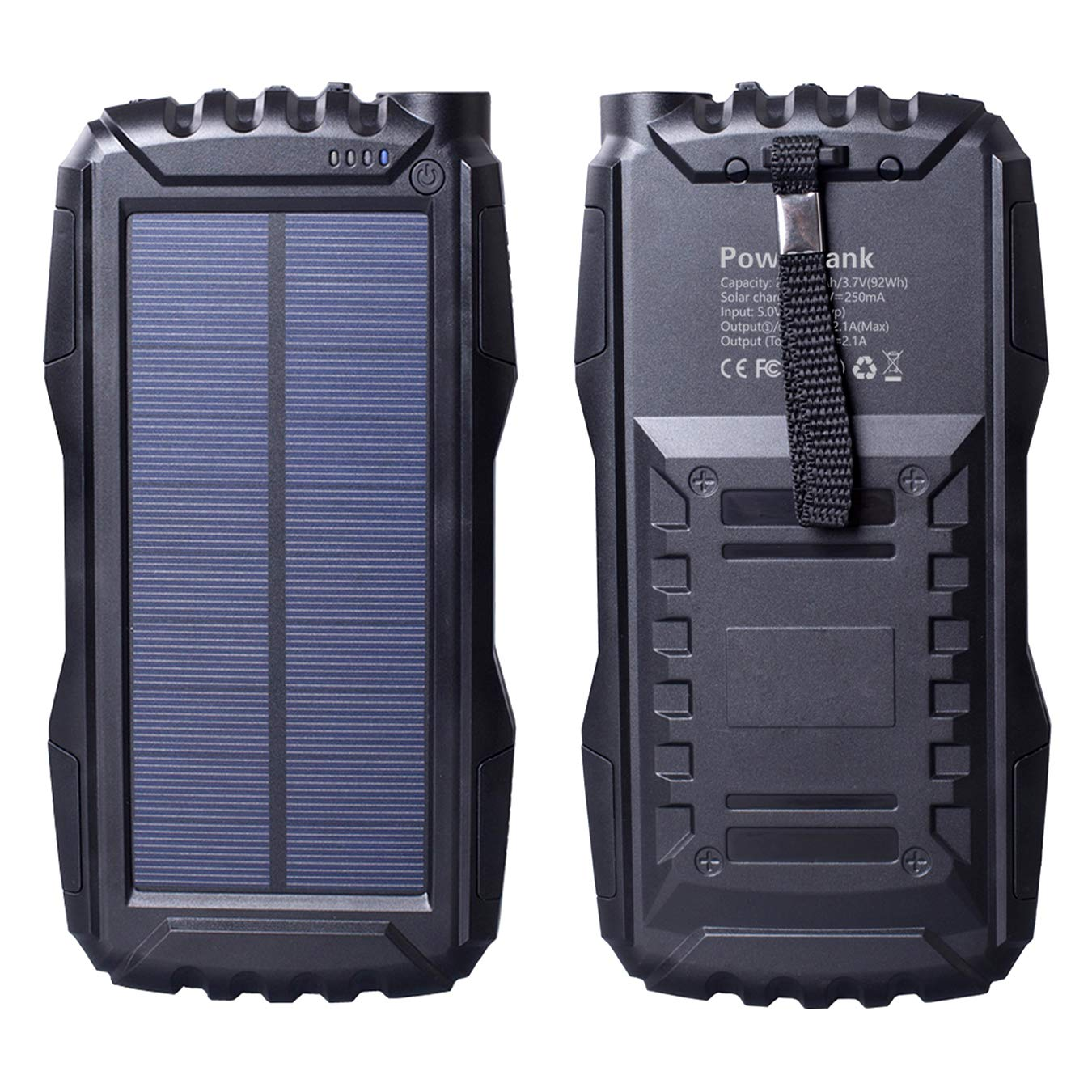 Friengood Solar Charger 25000mAh, Portable Solar Power Bank with Dual USB Port, Outdoor Solar Phone Battery Charger with LED Flashlight for iPhone, iPad, Android Cellphones and More (Black) by Friengood