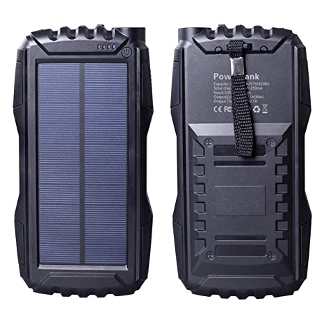 wholesale dealer faf0a f06af Friengood Solar Charger, Portable 25000mAh Solar Power Bank, Waterproof  Solar External Battery Pack with Dual USB Ports and Flashlight for iPhone,  ...