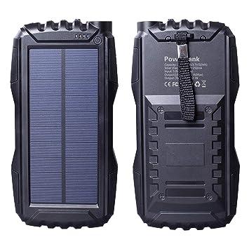 Friengood - Cargador Solar portátil de 25000 mAh, con Doble Puerto USB, Cargador de batería con Linterna LED para iPhone, iPad, teléfonos móviles ...