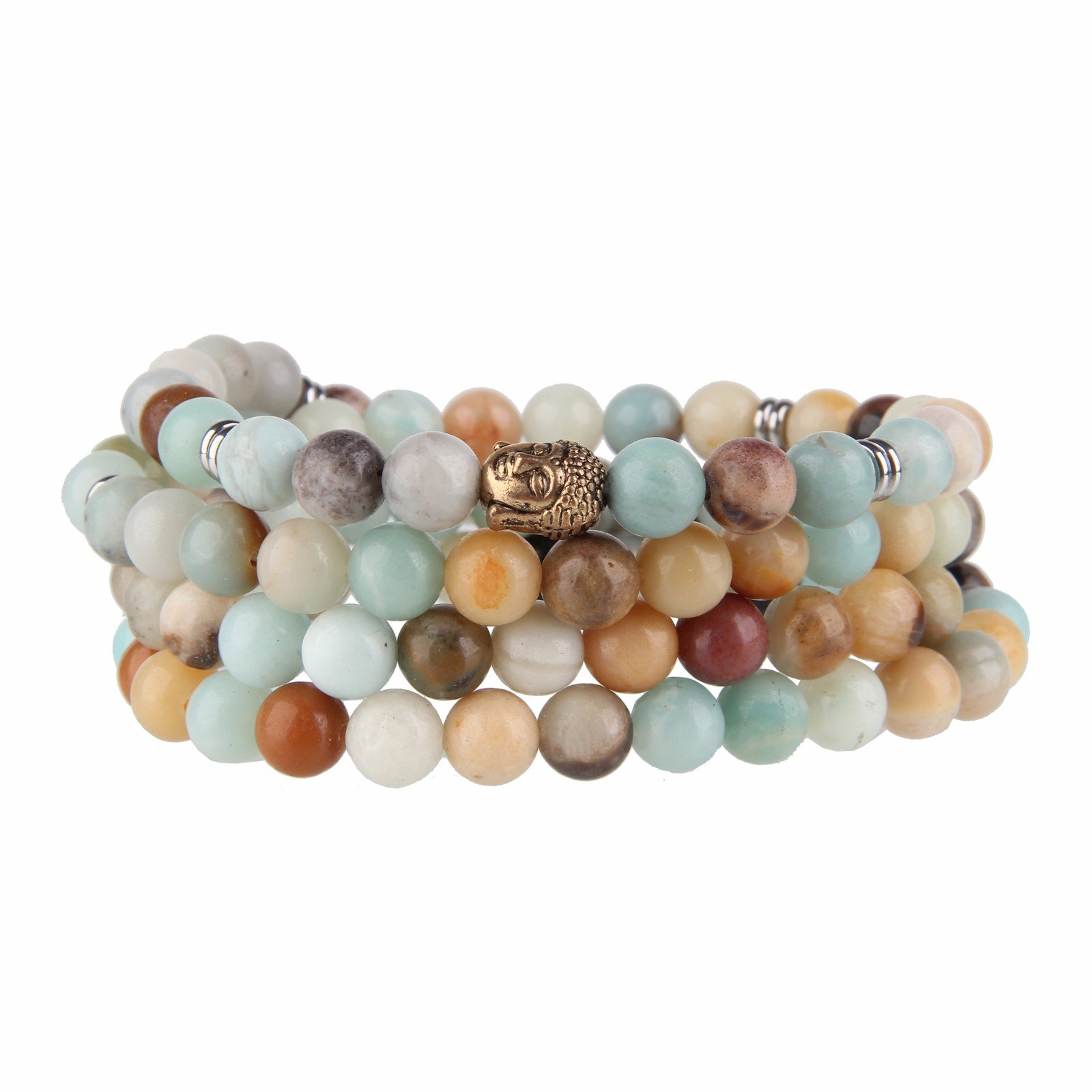 Beauty7 108 8mm Mixed Color Matte Natural Amazonite Beads Bracelet Wrap Meditation Buddhist Rosary Prayer Mala Mantra Yoga Elastic Necklace Healing Jewelry