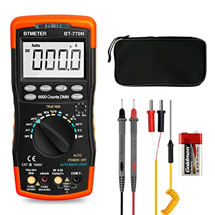 btmeter bt 770n trms auto manual ranging multimeters, 6000 counts digital multimeter ac dc amp ohm volt meter hfe led capacitor tester to 99 99mf with arduino mosfet led basics of high power led lighting