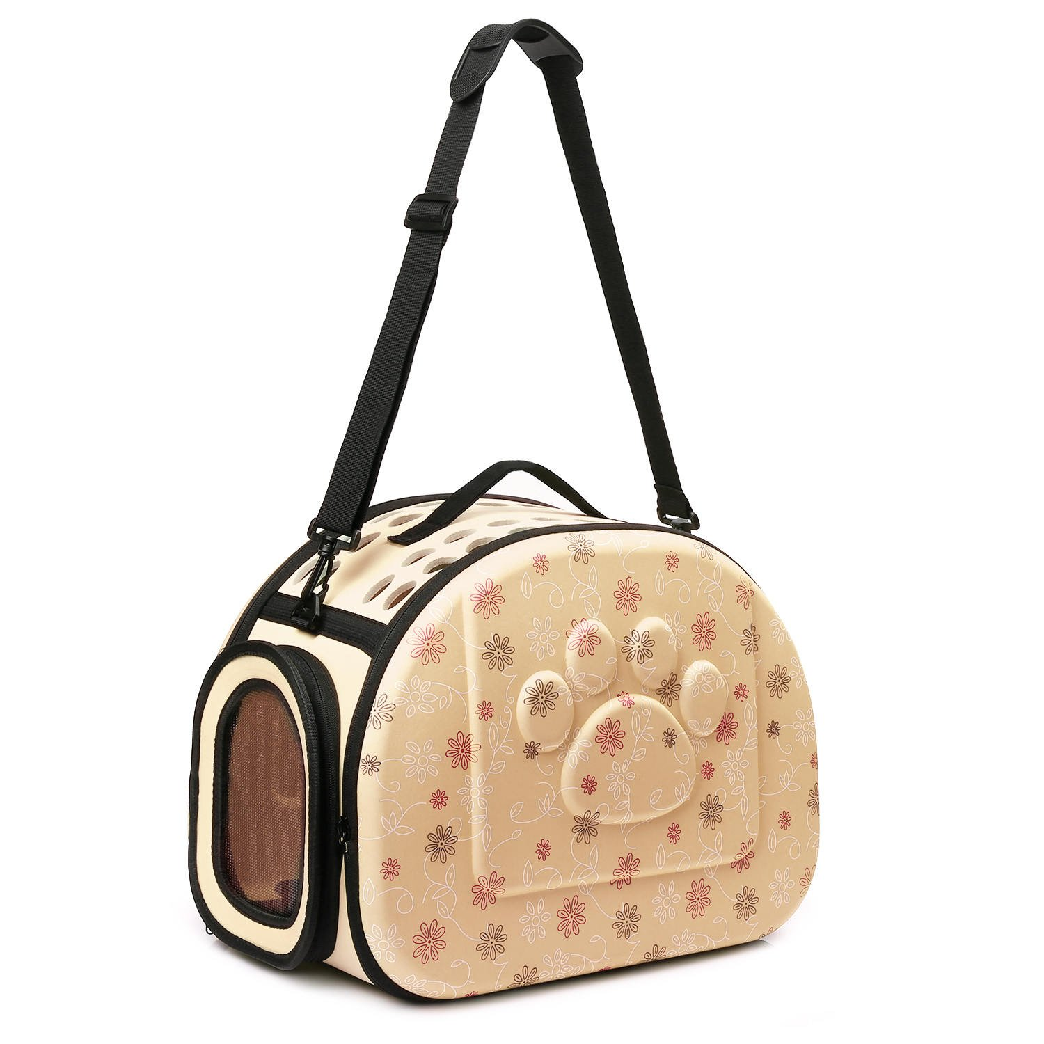 CORALTEA EVA Cute Portable Collapsible for Pets of Medium Size Cats & Dogs Airline Approved Outdoor Under Seat Travel Pet Carrier Soft Sided Puppy Bag (Champagne)