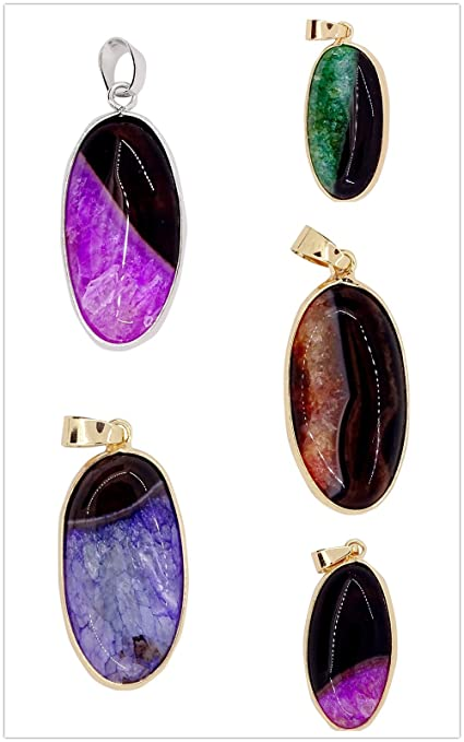 Natural Crystal Agate Geode Stone Bead Pendant For DIY Necklace Jewelry Making