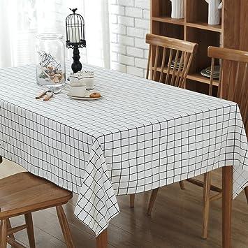 LU-Decoración hogareña Lattice Lino Mantel Mantel Toalla Restaurante Inicio Hotel Meeting (Color : Blanco, Tamaño : 120 * 160cm): Amazon.es: Hogar
