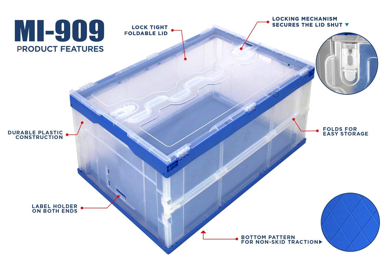 Gris Pliables Plastique Caisse de Stockage Pliant Distribution Utilitaire R/écipient avec Attach/é Couvercle Mount-It 65L Capacit/é