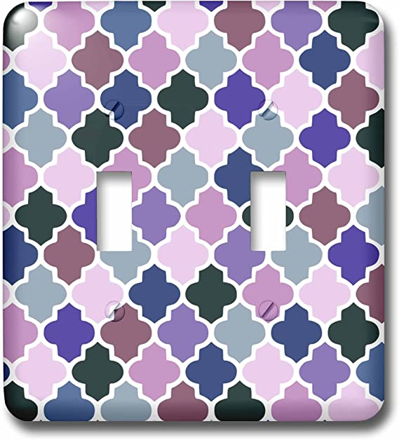 3drose Llc Lsp 120262 2 Purple Colorful Quatrefoil Girly Moroccan Tiles Lattice Lilac Indigo Violet Purple Shades Clovers Double Toggle Switch Switch Plates Amazon Com