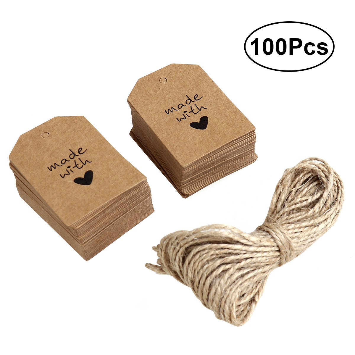 UEETEK 100pcs Made with Love Sign Paper Tag Gift Label with Twine for Wedding Party