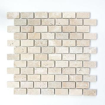 Carrelage mosaïque Pierre Naturelle Pierre Beige Brick Chiaro ...
