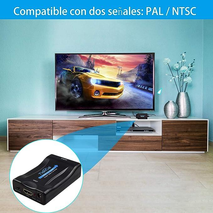 Convertidor HDMI a Scart, Tiancai Adaptador de HDMI a Euroconector Video Convertidor CVBS Input para PS3 PS4 VCR DVD BLU-Ray Wii TV Box Sky HD: Amazon.es: Electrónica