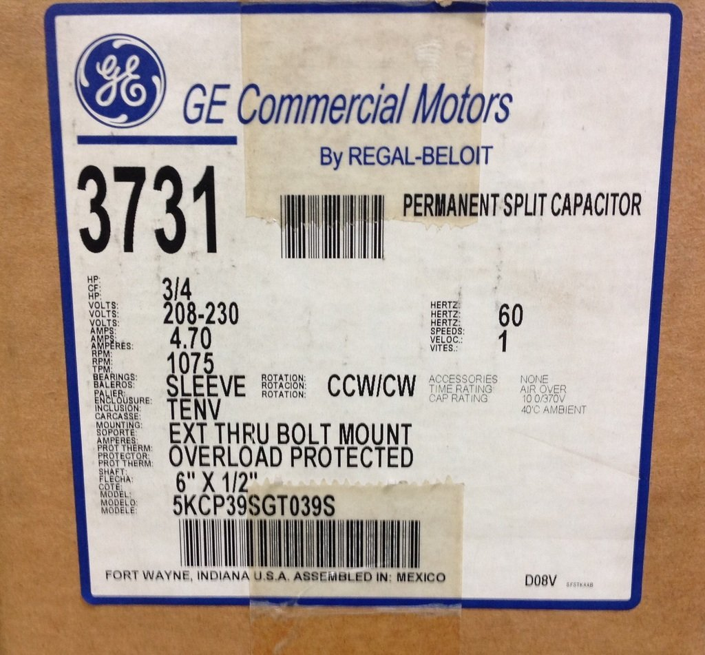 General Electric Motors 3731 GE CondFan Mtr 3/4 230V Up/Dwn